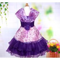 Vestido Infantil Festa/princesa/florista Branco Ou Lilás
