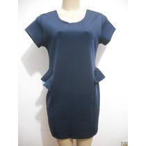Vestido Azul Escuro Tam G Tecido Tipo Neopreme Fino Ótimo