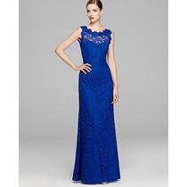 Vestido Gg Importado Longo Elegante Decote Costas,renda Azul