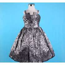 Vestido Infantil Tafetá Com Rosas Princesa/festa Tam 6 , 8