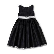 Vestido Infantil Festa Preto Poá - Tamanhos 4 E 8