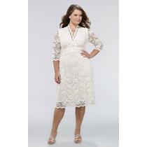 Vestido De Noiva Midi Longuete Em Renda Plus Size Sob Medida