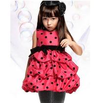 Vestido De Festa Infantil Princesa Poá Balonê Luxo Minie
