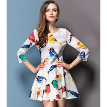 Vestido Primavera Verão Estampa Pássaros