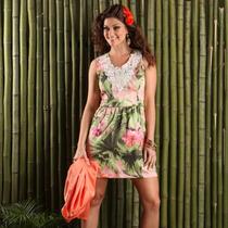 Lindo Vestido Floral Tropical Aplicação Renda Guipir