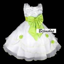 Vestido Infantil Dama/florista Bco C/ Laço Vinho ,verde,roxo