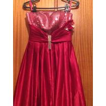 Vestido De Festa Vermelho Bordado Com Paete E Strass