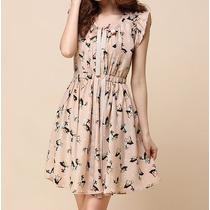 Vestido Romântico Vintage Estampado Com Laços