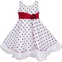 Vestido De Festa Infantil Verão, Poá Vermelho, Aniversário