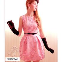 Vestido Feminino Renda Princesa Lady Rainha Europeu Elegante