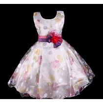 Vestido Infantil Festa/dama/florista Crepe Estampa Floral