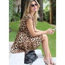 Vestido Estampa Animal Print Oncinha Importado M