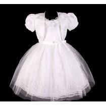 Vestido Infantil Festa/dama/florista Off White Bolero Bordad