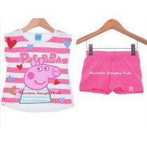 Conjunto Peppa Pig Regata E Short Malwee Tamanhos 1 Ao 3