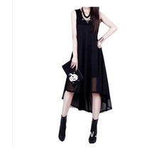 Vestido Irregular/mule Preto Assimétrico Tam G
