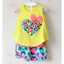 Conjunto Menina Infantil Coração Colorido Laço - Pta Entrega