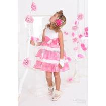 Vestido Infantil Festa Aniversario Daminha Com Tiara