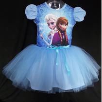 Vestido Infantil Festa Frozen Bailariana Fantasia