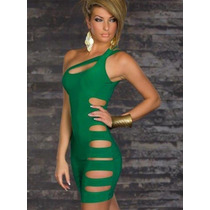 Vestido Curto Verde Ou Preto Com Recorte Sexy Balada Panicat