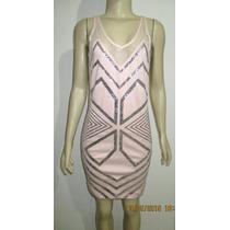 Vestido De Festa Nude Rosê Com Bordado Em Lantejoula