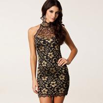 Lindo Vestido Dourado Renda Importado Imperdivel