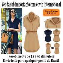 Mini Vestido Casual Collection Shirt Dress Style - Importado
