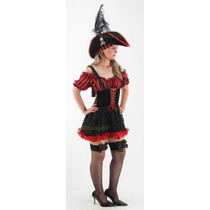 Fantasia Adulto Vestido Pirata Feminino Luxo Com Chapéu