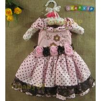 Vestido De Festa Infantil Luxo - Rosa E Marrom Bolinhas Poá