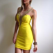 Vestido De Festa Curto Com Tule, Renda E Bojo Na Cor Amarela