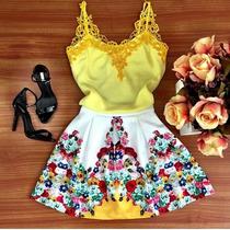 Maravilhoso Vestido Festa Floral Detalhe Renda Importado