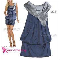 Vestido Festa Curto Cetim Azul E Prata Queima Estoque