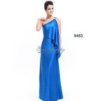Vestido Festa Longo Malha Sintética Azul Queima Estoque