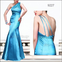 Vestido Longo Cetim Azul Calda Sereia Queima Estoque