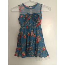 Vestido Infantil Azul Estampado Flores Rosa Laço Tule Lindo