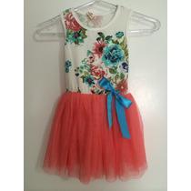 Vestido Infantil Malha Estampada Saia Tule Rosa Salmão Festa