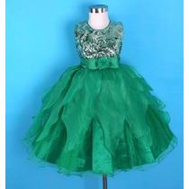 Vestido Festa Infantil Casamento, Aniversário,paete / Verde