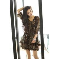 Vestido Em Chiffon - Leopardo Ou Gatinho - Frete Grátis