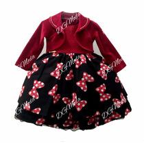 Vestido Minnie Luxo De Festa Estampado C/ Bolero - Tam 1 /3