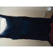 Vestido Azul Marinho Em Crepe De Seda