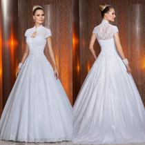 Vestido De Noiva Com Mangas Bordado Importado Lindíssimo