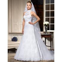 Vestido De Noiva Novo - Renda - Gola Alta - Cauda Removível