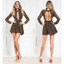 Vestido Curto Renda Lurex Black Maria Gueixa Ref 3004