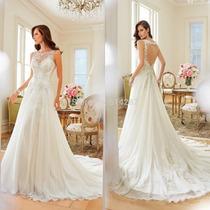Vestido De Noiva Manga Curta De Renda Calda Longa
