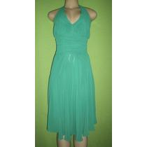 Vestido Festa Crepe De Seda Verde Esmeralda Tamanho M