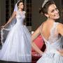 Vestido De Noiva Rodado Manga Curta De Renda
