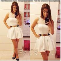 Vestido Branco Com Tule Panicat Rodado - Importado