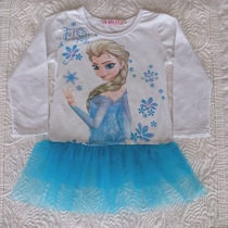 Vestido Frozen Com Saia Tutu Manga Longa - Pronta Entrega