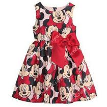 Vestido Infantil Festa Minnie Estampado Com Tiara De Brinde