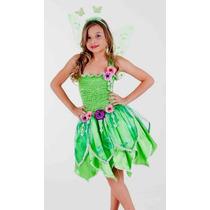 Vestido Fantasia Princesa Sininho Tinker Bell Luxo Com Asa