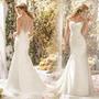 Vestido De Noiva Renda C Cristais Cauda Capela